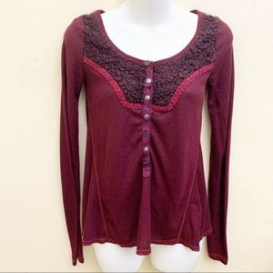 Free People Waffle Knit Fuzzy Henley Thermal Top
